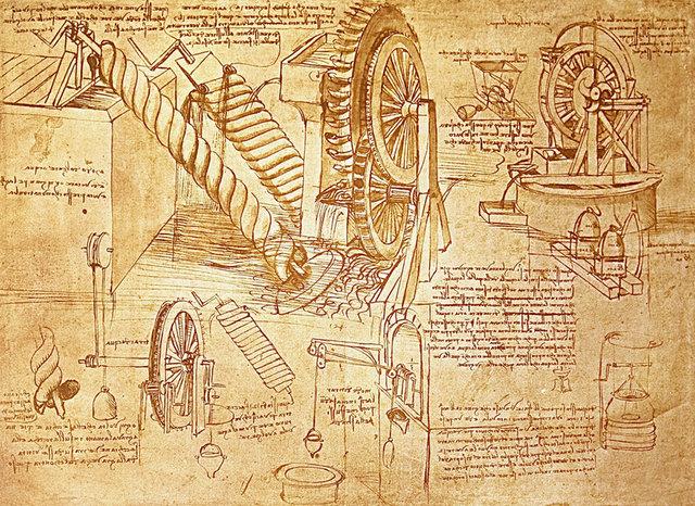 Arte e Técnica em desenho de invenção de Leonardo da Vinci